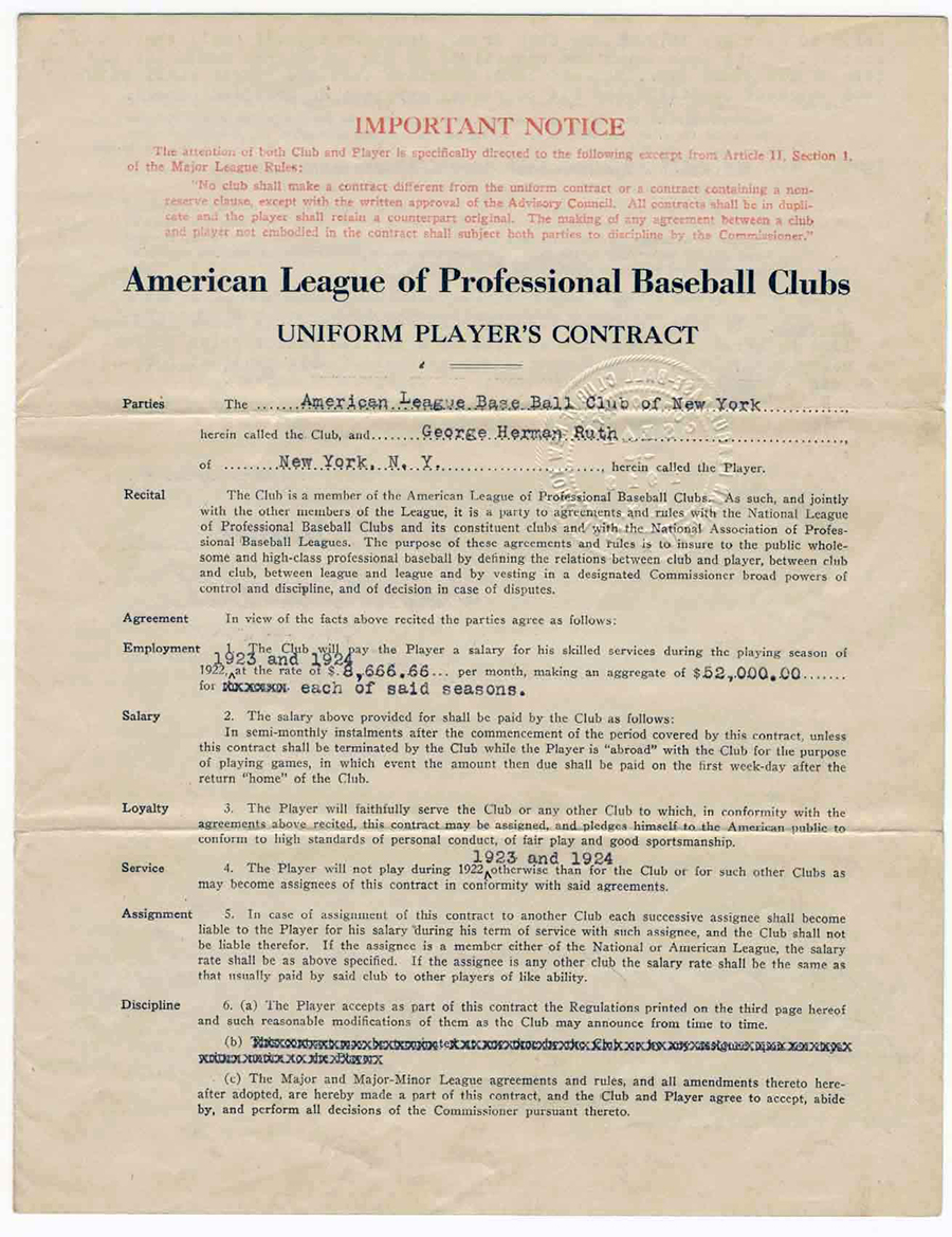 Babe Ruth\'s First Contract with the New York Yankees | Moments In Time