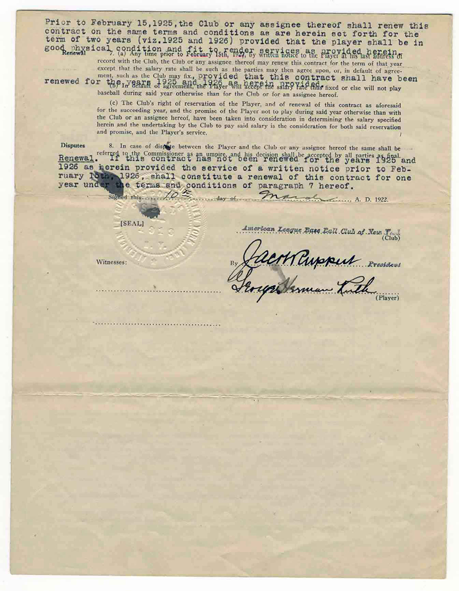 Babe ruth contract-2391