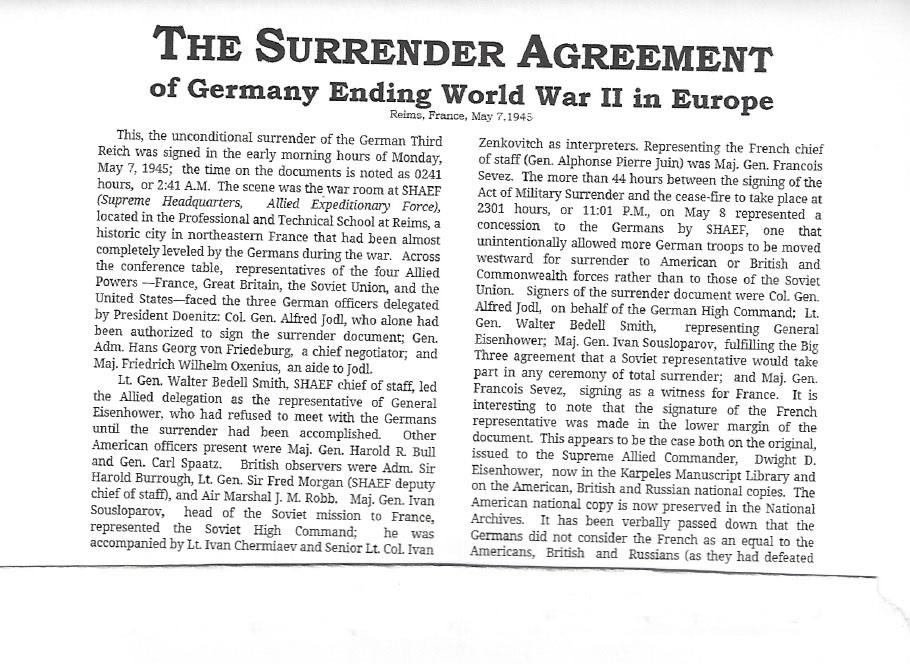 Surrender Document Ending Ww2 In Europe Moments In Time